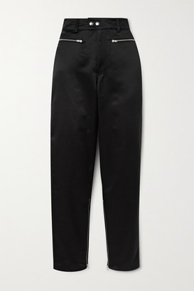 Kwaidan Editions Zip-detailed Satin Tapered Pants - Black