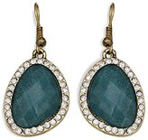Jules B Green Stone surrounded by Clear Stones Statement Drop Earrings