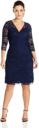 Marina Women's Plus-Size Crescent Lace Dress Criss Cross at Front