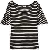 Saint Laurent Striped Silk-jersey T-shirt - Black