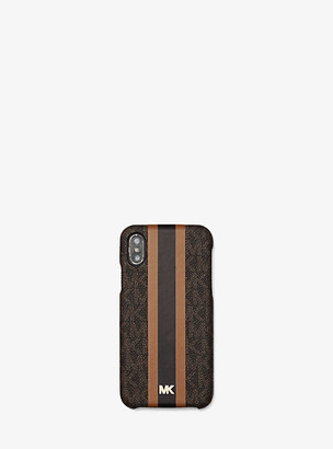 MICHAEL Michael Kors MK Logo Stripe Phone Cover for iPhone X/XS - Brn/acorn - Michael Kors