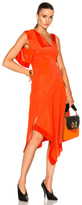 Victoria Beckham Double Face Shine Patchwork Dress in Orange,Red.