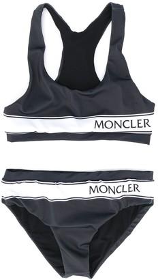 Moncler Enfant Striped-Logo Bikini