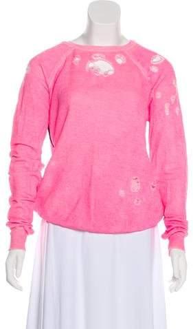 Unravel Project Distressed Crew Neck Sweatshirt