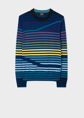 Paul Smith Men's Navy Striped Merino-Wool Sweater
