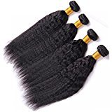 Vinsteen Unprocessed 8A Brazilian Hair Kinky Straight 4 Pieces Human Hair Weaves 8-30 inches Wefts Human Hair Extensions Natural Color Dyeable (4pcs 20 inch)