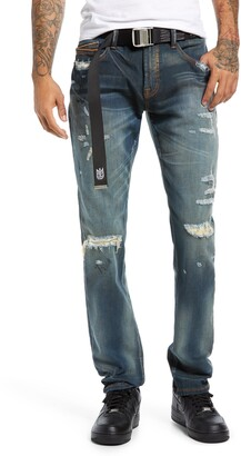 Cult of Individuality Rocker Slim Belted Distressed Jeans