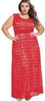 NiSeng Women's Sleeveless Lace Evening Formal Maxi Dress with Belt Plus Size XXXL