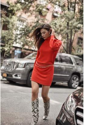 Dynamite Ribbed Mock Neck Shift Dress Starburst Red