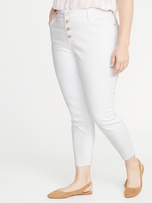 Old Navy High-Waisted Secret-Slim Pockets Plus-Size Button-Fly Cropped Rockstar Jeans