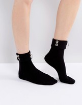 Asos Eyelet And Ring Detail Ankle Socks