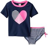 Osh Kosh Toddler Girl Striped Heart Rashguard & Swimsuit Bottoms Set