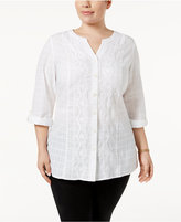 JM Collection Plus Size Cotton Embroidered Tunic, Created for Macy's
