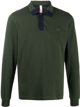 Sun 68 Long Sleeved Polo Shirt With Contrast Detail
