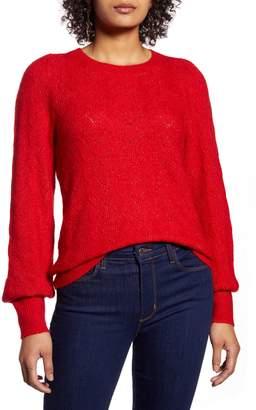 Halogen Curved Chevron Pointelle Sweater