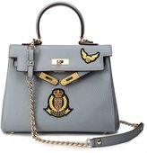Fengyaqiandai KL Women's Genuine Cow Leather with Embrodery Badge Shoulder Bags