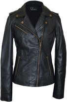 Faneema Women's Riva Moto Leather Jacket