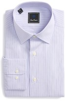 David Donahue Men's Regular Fit Stripe Dress Shirt