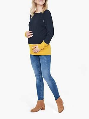 Mama Licious Mamalicious Lia Combination Knit Nursing Jumper, Salute/Nugget Gold
