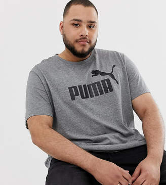 Puma PLUS Essentials t-shirt with large logo in grey