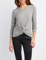 Charlotte Russe Marled & Ribbed Twisted Top