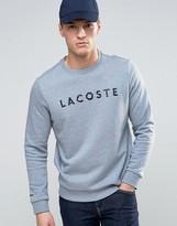 Lacoste Pique Trim Logo Print Sweat in Gray Marl