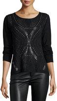 Alberto Makali Long-Sleeve Stud-Embellished Top, Black