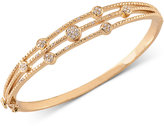 Carolee Gold-Tone Crystal Accented Three Row Hinged Bangle Bracelet