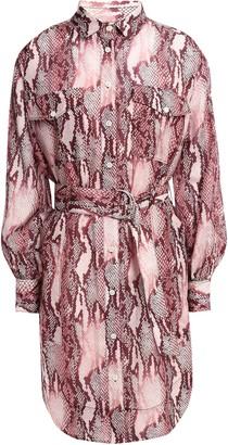 Current/Elliott Snake-print Cotton And Silk-blend Mini Shirt Dress