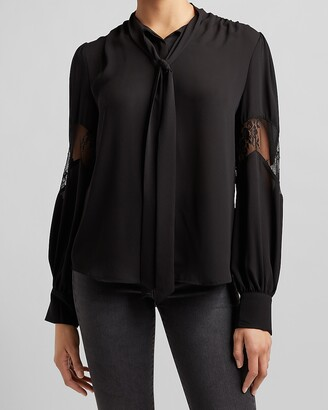 Express Lace Inset Tie Neck Shirt