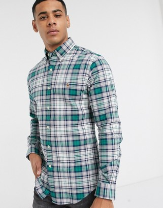 Polo Ralph Lauren slim fit stretch oxford in green check with logo