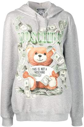 Moschino teddy bear print hooded sweater