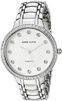 Anne Klein Women's AK/2781SVSV Diamond-Accented Silver-Tone Bracelet Watch