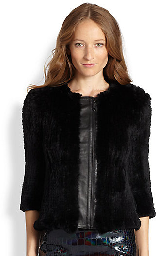 Milly Rabbit Fur & Leather Jacket