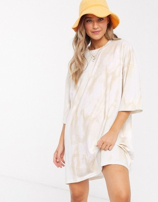 ASOS DESIGN oversized t-shirt dress in cream tie dye
