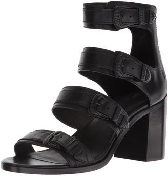Frye Women's Danica Western Buckle Heeled Sandal Black 5.5 M US