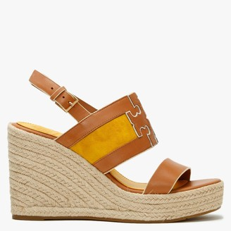 Tory Burch Ines Tan Goldfinch Leather Wedge Espadrille Sandals