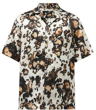 Edward Crutchley Animal-print Silk-twill Short-sleeved Shirt - Brown Multi