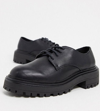 ASOS DESIGN Wide Fit Money chunky lace up flat shoes in black