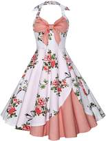 DressLily Women's Pin Up Retro Halter Floral Print A Line Vintage Cocktail Dress