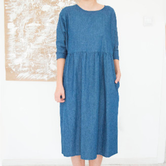 Attitude 157 - Denim Casual Long Sleeve Dress Blue Cotton - Titally - L - Blue