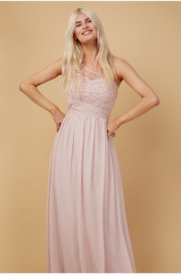 Thumbnail for your product : Little Mistress Bridesmaid Luanna Blush Embellished One-Shoulder Maxi Dress