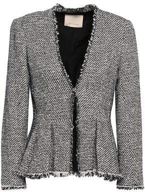 a01d55a9d2d8ee Rebecca Taylor Frayed Cotton-blend Tweed Peplum Jacket