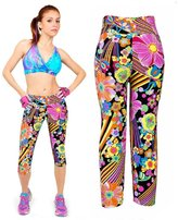 Pooqdo 1PC Womens High Waist Yoga Sport Pants Printed Stretch Cropped (XL, )