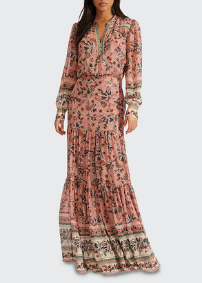 Veronica Beard Sama Floral Tiered Skirt Maxi Dress