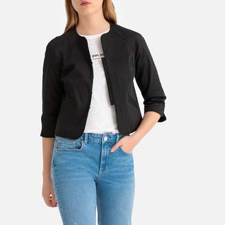 La Redoute Collections Cropped Fitted Collarless Jacket in Stretch Cotton