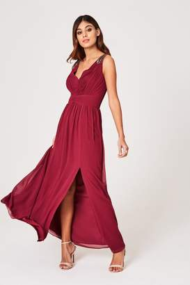 Little Mistress Womens Embellished Strappy Maxi Dress - Red