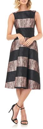 Kay Unger Sarah Stripe Floral Lace Cocktail Dress