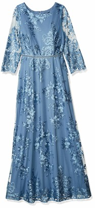 Brianna Women's Long Embroidered Full Skirt Gown