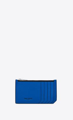 Saint Laurent Paris Slg Fragments Zipped Card Case In Grain De Poudre Embossed Patent Leather Neon Blue Onesize